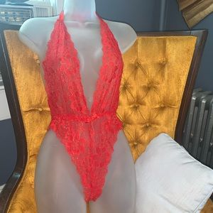 NWOT Red lace bodysuit / teddy